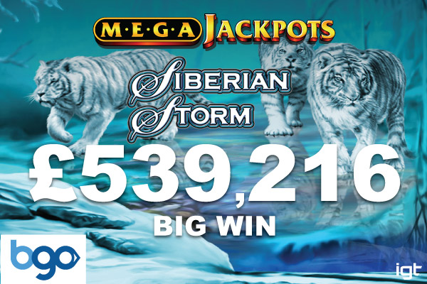 £539,216 UK Casino Win On MegaJackpots Siberian Storm