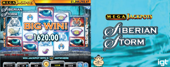 Siberian Storm MegaJackpots Slot Big Win Screenshot