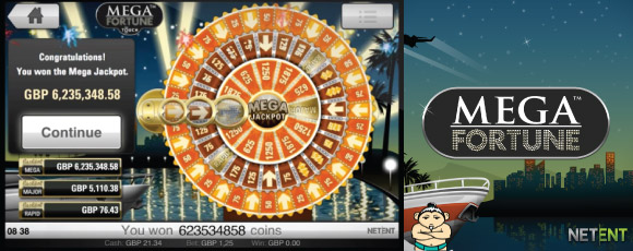 Mega Fortune Slot Jackpot Bonus Wheel Winning Screenshot