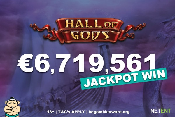 NetEnt Hall of Gods Mobile Jackpot Slot Win